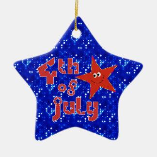 4th av den Juli minnessakstjärnan Julgransprydnad Keramik