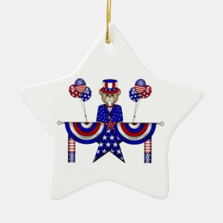 4th av den Juli nallepresidenten Julgransprydnad Keramik