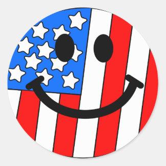 4th av den Juli smileyen Runt Klistermärke