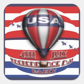 4th av det Juli partyet Fyrkantigt Klistermärke