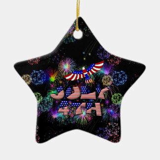 4th av det Juli partyet Julgransprydnad Keramik