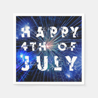 4th av Juli fyrverkerier i blåtttonlycklig 4th Servetter