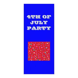 4th av July>.Party-inbjudan 10,2 X 23,5 Cm Inbjudningskort