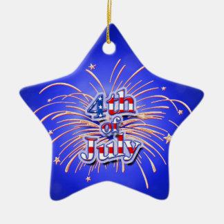 4th av prydnaden för Juli fyrverkeristjärna Julgransprydnad Keramik