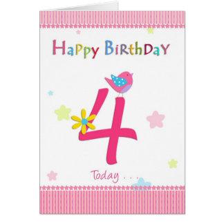 4th bithday flicka för lycklig hälsningskort