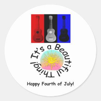 4th Juli: Det är en härlig sak! Runt Klistermärke