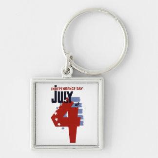 4th Juli Fyrkantig Silverfärgad Nyckelring