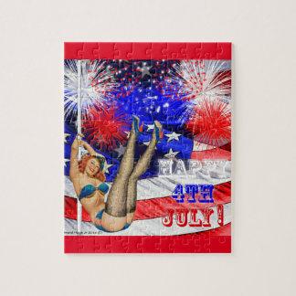 4th Juli med amerikanska flaggan och klämmer fast Pussel