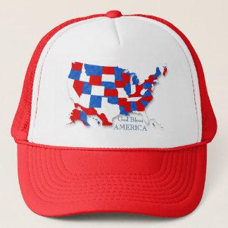 4th Juli - USA flagga/karta 2 Truckerkeps