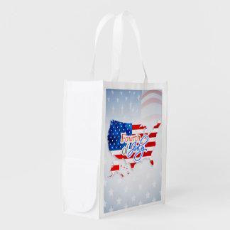 4th Juli - USA flagga/karta Återanvändbar Påse