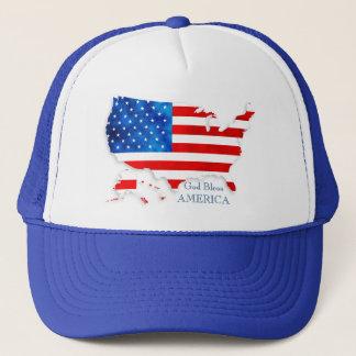 4th Juli - USA flagga/karta Truckerkeps