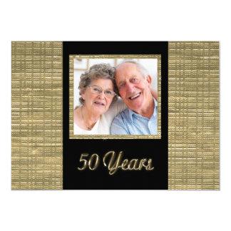 50 år årsdaginbjudan med fotomellanlägget 12,7 x 17,8 cm inbjudningskort