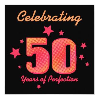 50 år av den beställnings- födelsedaginbjudan för fyrkantigt 13,3 cm inbjudningskort