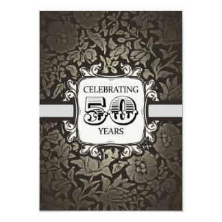 50 år damastast vintageinbjudan för bröllopsdag 12,7 x 17,8 cm inbjudningskort
