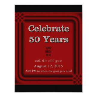 50 år för getfoto för firande gammala inbjudningar