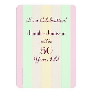 50 år gammal pastell görad randig partyinbjudan 12,7 x 17,8 cm inbjudningskort