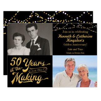 50 år i danandeårsdagen därefter & nu bilder 12,7 x 17,8 cm inbjudningskort
