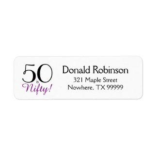 50 är Nifty! 50th Födelsedagreturadressetikett Returadress Etikett