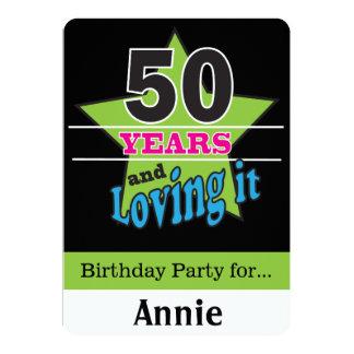 50 år och älska det 12,7 x 17,8 cm inbjudningskort