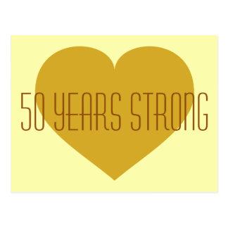 50 år stark hjärta för fast guld vykort
