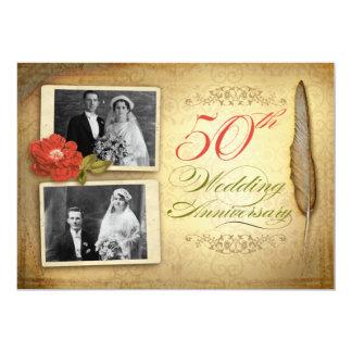 50 för fotovintage för bröllopsdag två inbjudan