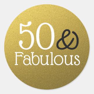 50 och sagolik guld- glitterfödelsedag runt klistermärke