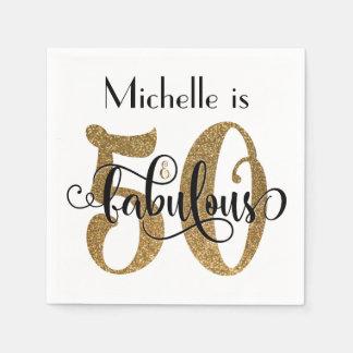 50 & sagolik guld- glittertypografifödelsedag papper servetter