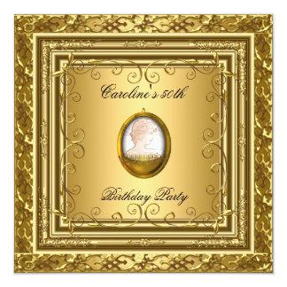 50th Antik guld- utsmyckad Cameo för Fyrkantigt 13,3 Cm Inbjudningskort