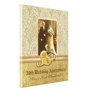 50th Antikt damastast guld för bröllopsdag Canvastryck