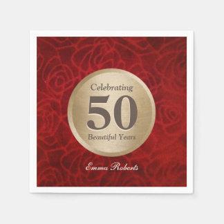 50th Årsdag- eller för födelsedagMonogramguld Pappersservett