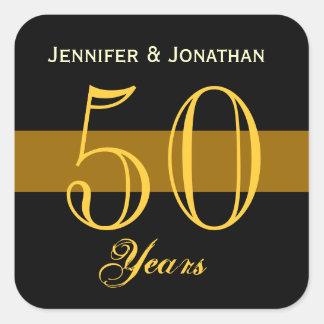 50th Årsdagguld och svart Fyrkantigt Klistermärke