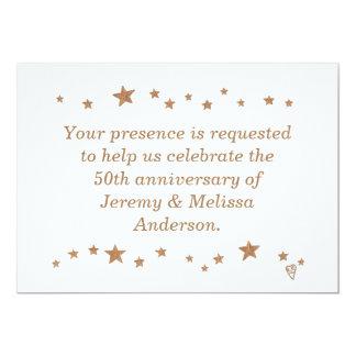 50th årsdaginbjudningar för livliga guld- stjärnor 12,7 x 17,8 cm inbjudningskort