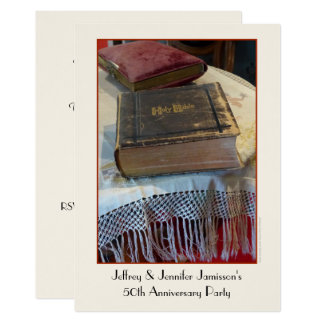 50th Bibel för vintage för årsdagpartyinbjudan 12,7 X 17,8 Cm Inbjudningskort