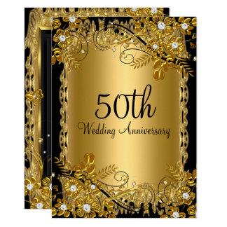 50th Blommigten för diamant för årsdagguldsvart 11,4 X 15,9 Cm Inbjudningskort
