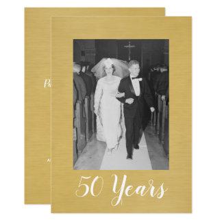 50th Bröllopsdag med fotoet - borstat guld 12,7 X 17,8 Cm Inbjudningskort