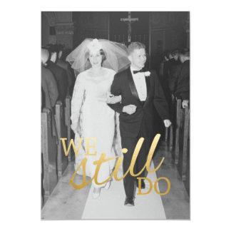 50th Bröllopsdag med fotoet - vi stillar gör 12,7 X 17,8 Cm Inbjudningskort