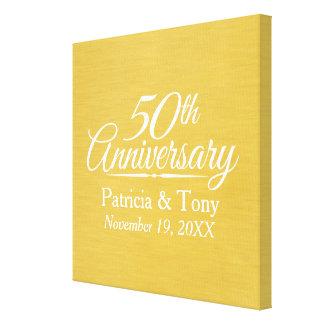 50th Bröllopsdag personifierat guld- Canvastryck