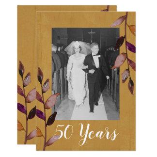 50th Bröllopsdagfoto - guld- aubergine 12,7 X 17,8 Cm Inbjudningskort