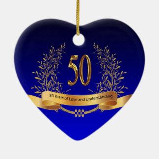 50th bröllopsdaggåvor för elegant julgransprydnad keramik
