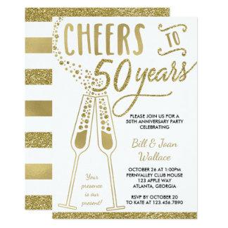 50th Bröllopsdaginbjudan, Fauxglitter 12,7 X 17,8 Cm Inbjudningskort