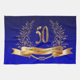 50th bröllopsdagkökshanddukar för lycklig kökshandduk