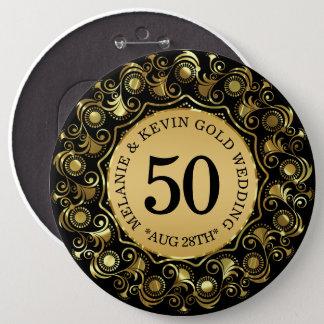 50th Bröllopsdagsvart & guld, beställnings- text Jumbo Knapp Rund 15.2 Cm