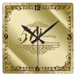 50th Bröllopsdagväggen tar tid på Fyrkantig Klocka