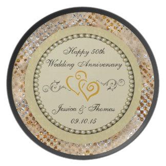 50th Den dekorativa guldbröllopårsdagen pläterar Tallrikar