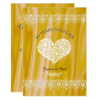 50th Diamanter för bröllopsdagfirandeguld 12,7 X 17,8 Cm Inbjudningskort