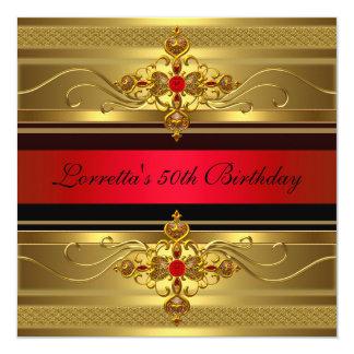 50th Elegant guld- röd diamantjuvel för födelsedag Fyrkantigt 13,3 Cm Inbjudningskort