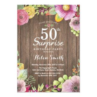 50th födelsedaginbjudan för lantlig blom- 12,7 x 17,8 cm inbjudningskort