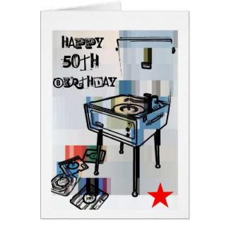 50th födelsedagkort för Retro lycklig Hälsningskort