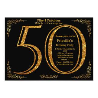50th, födelsedagsfest, femtio, Gatsby, svart & 12,7 X 17,8 Cm Inbjudningskort
