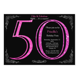 50th födelsedagsfest, femtio, Gatsby, svart silver 12,7 X 17,8 Cm Inbjudningskort